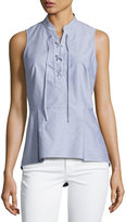 Veronica Beard Lace-Up Oxford Shirting Top, Blue