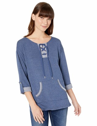 Ruby Rd. Women's Split-nk w/Lacing Detail Terry Pullover w/Pouch pkt 3/4 roll-tab SLVS