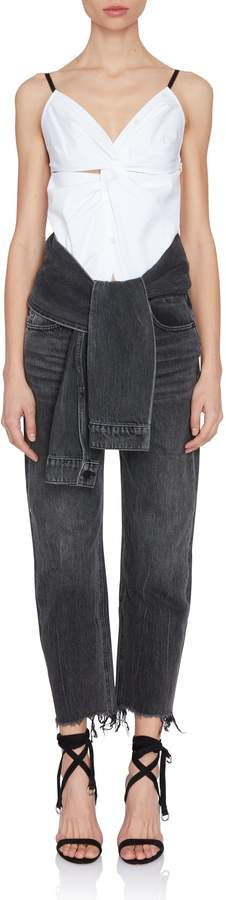 Alexander Wang Grey Tie-Waist Cropped Jeans