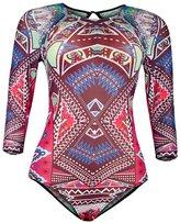 Viottis Women's Mesh Long Sleeve One-piece Bodysuit Rashguard Multi-color 3XL