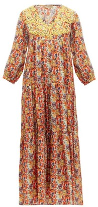 Muzungu Sisters - Frangipani Poppy-print Silk-faille Maxi Dress - Womens - Orange Multi