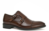 Joseph Abboud Brown Dante Leather Double Monk-Strap Shoe