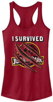 Fifth Sun Jurassic Park Women I Survived Claw Marks on Logo Racerback Tank Top
