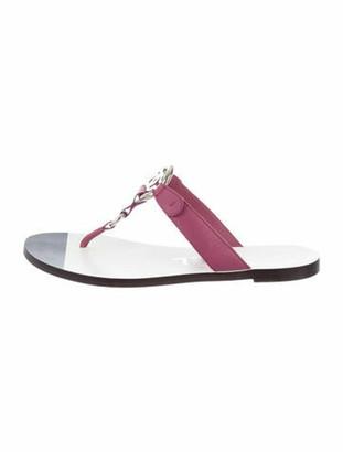 Chanel Interlocking CC Logo Leather T-Strap Sandals Purple
