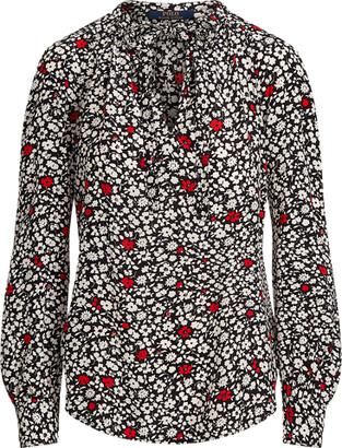 Ralph Lauren Floral Tie-Neck Blouse
