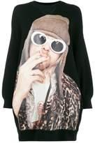 R 13 Kurt Cobain Print Oversized Sweatshirt