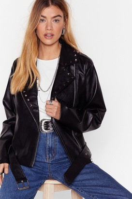 Nasty Gal Womens The Queen of Rock 'N' Roll Faux Leather Jacket - Black