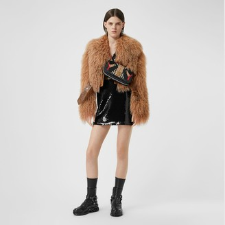 Burberry Shearling and Embossed Leather Biker Jacket