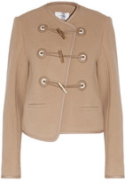 Carven Faux Leather-Trimmed Wool-Blend Felt Jacket