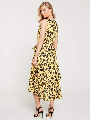 Wallis Animal Tiered Dress - Yellow
