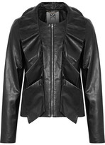 Milly Cascade Ruffled Leather Jacket