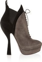 Alaia Two-tone suede boots