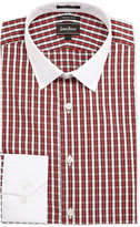 Neiman Marcus Trim-Fit Plaid Dress Shirt, Red/White