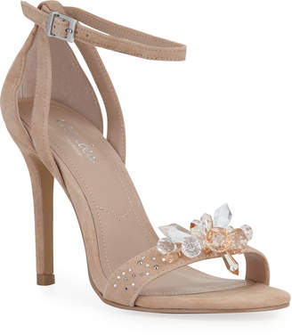 Charles by Charles David Rainey Jeweled Suede Ankle-Strap Sandals