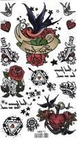 King Horse Rows Swallows Body Art Temporary Tattoo Sticker