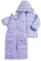 London Fog Girls 2-6x Faux Fur Trimmed Coat and Snow Pants Set