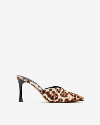 Express Genuine Calf Hair Leopard Heeled Mules