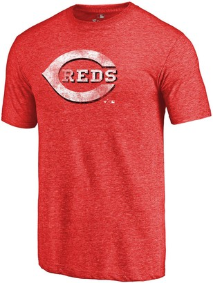 Fanatics Men's Heathered Red Cincinnati Reds Distressed Team Tri-Blend T-Shirt