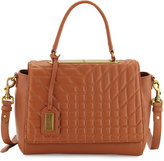 Badgley Mischka Frankie Quilted Satchel/Crossbody Bag, Cognac