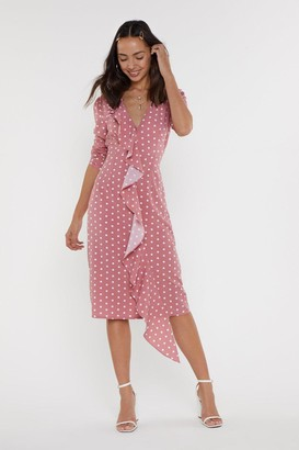 Nasty Gal Womens You Hit The Spot Polka Dot Midi Dress - Pink - 6, Pink