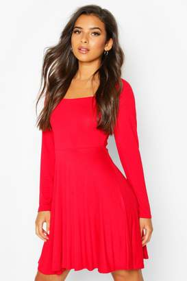 boohoo Long Sleeve Jersey Square Neck Skater Dress