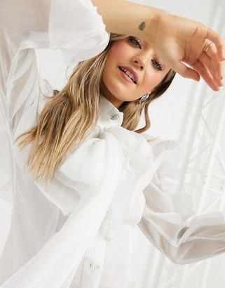 Forever U exaggerated ruffle blouse with oversized sleeves in ivory