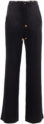 Nanushka Flax Belted Crinkled Washed-satin Wide-leg Pants