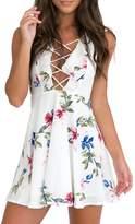 Glamaker Women's Sexy Lace Up Mini Dress Ruffles Boho Floral Dress