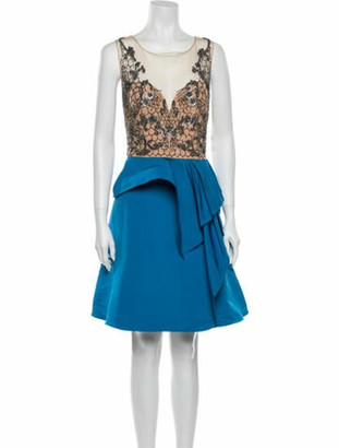Marchesa Notte Scoop Neck Knee-Length Dress w/ Tags Blue
