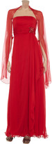 Mikael Aghal Crystal-embellished silk-georgette gown