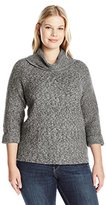 Leo & Nicole Women's Plus Size 3/4 Textured Cowl Pullover Sweater