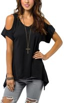 Bling Stars Women's V Neck Vogue Shoulder Off Wide Hem Design Top Shirt Blouse
