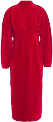Emilia Wickstead Open-back Cotton-velvet Midi Dress