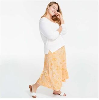 Joe Fresh Women+ Wide Waistband Skirt, Yellow (Size 1X)