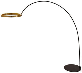 Artiva USA Ring of Light Geometric 60W 2-Light Led Arched Floor Lamp, Rose Copper
