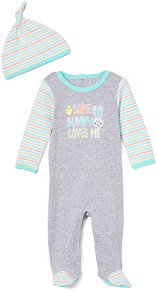 Baby Essentials Boys' Rompers Grey - Gray Stripe 'Some Bunny Loves Me' Footie & Stripe Knot Beanie - Infant