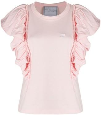 Philosophy di Lorenzo Serafini ruffle sleeve embroidered logo T-shirt