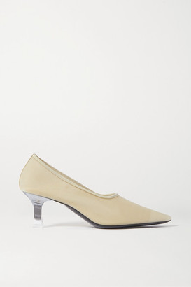 The Row Sock Leather-trimmed Mesh Pumps - Off-white