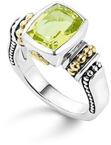 Lagos 18K Gold and Sterling Silver Caviar Color Small Ring with Green Quartz