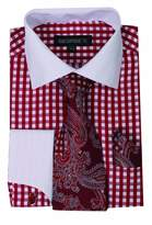 George's Small Check Fashion Shirt With Matching Tie, Handkerchief And French Cuffs