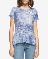 Calvin Klein Jeans Burst-Print Peplum-Hem Top