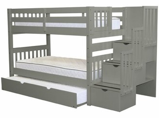 Harriet Bee Tena Twin Over Twin Bunk Bed with Trundle Bed Frame Color: Gray