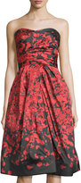 Monique Lhuillier Floral-Print Strapless Gown, Red-Noire
