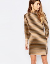 Wood Wood Mary Stripe Dress In Tannin