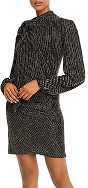 Marc Jacobs The Disco Metallic Tie-Neck Dress