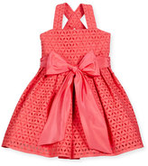 Helena Sleeveless Cross-Back Eyelet Dress, Coral, Size 7-10
