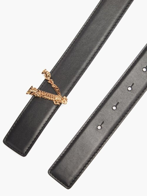Thumbnail for your product : Versace Baroque-buckle Leather Belt - Black
