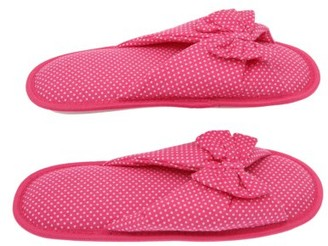 Deluxe Comfort Living Health Products Cotton Memory Foam Women's Slipper with Butterfly Tie