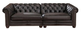 "Altura Genuine Leather Chesterfield 100"" Rolled Arm Sofa Darby Home Co"