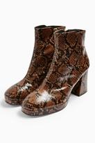 Topshop Womens Eddie Snake Platform Boots - Natural